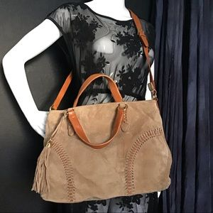 Lauren Ralph Lauren Leather Satchel Tassel Bag